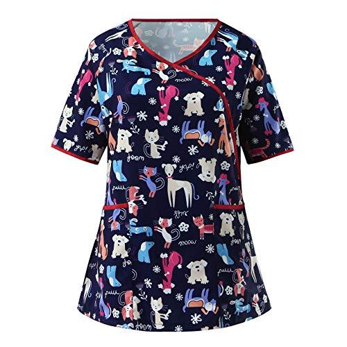 Women Short Sleeve V-Neck Tops Workwear T-Shirt Christmas Thanksgiving Print Cute Scrub_Top Working Uniform Blouse