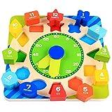 Desire Sky Reloj de aprendizaje, forma de madera que clasifica el juguete del reloj de enseñanza, reloj de enseñanza de madera con números y formas que clasifican, juegos educativos regalos para niños