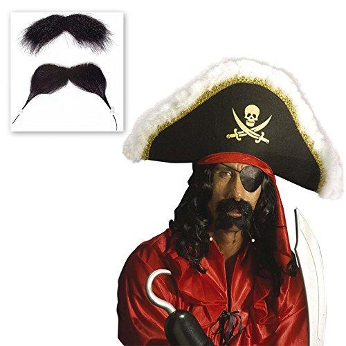 NET TOYS Barbe de Pirate en Deux Parties Flibustier Barbe Set Noir Pirates Barbe Fausse Barbe Accessoire de Pirate déguisement Accessoires Pirate