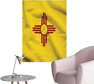 Vinyl Wall Stickers New Mexico of United States Flag Sun Symbol of The Zia on Perfectly Decorated,12