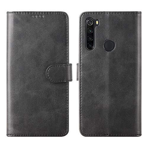 CRESEE für Xiaomi Redmi Note 8T Hülle, PU Leder Schutzhülle mit 3 Kartenfächer, Hülle Tasche Magnetverschluss Flip Cover Standfunktion Stoßfest Brieftasche Handyhülle für Redmi Note 8T (Schwarz)