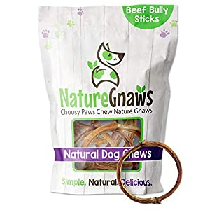 Nature Gnaws Bully Stick Rings for Dogs – Premium Natural Beef Bones – Long Lasting Dog Chew Treats for Small and Medium Breeds – Rawhide Free – 4-5 Inch (5 Count)