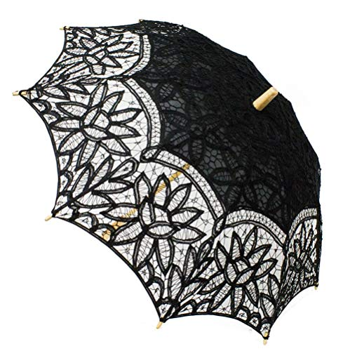 Fennco Styles Handmade Victorian Battenburg Lace Cotton Wood Wedding Photo Parasol Umbrella - 3 Colors (Black)