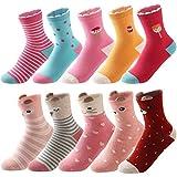 SUNBVE Little Big Girls Adorable Cotton Crew Socks 10 Pairs Pack