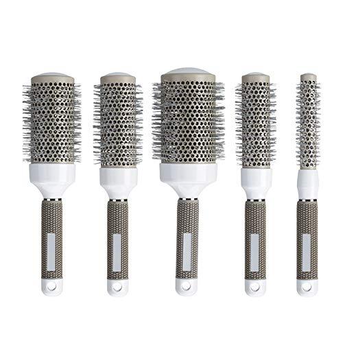 Aozzy Cepillo Pelo Redondo para Secador, Juego de Cepillos Térmicos 5 unidades, Antiestático, Cerámica, Brillo Extra, Mejora la Textura Barber Salón Barrel Peluquería Peine