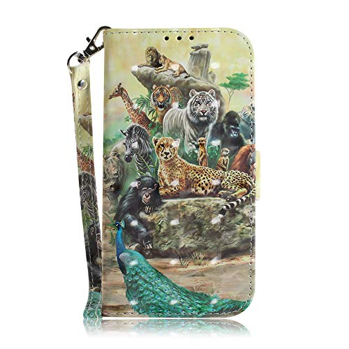 JZ 3D Colorful Painting Series Funda For para Huawei Honor 8X Wallet Flip Cover with [Wrist Strap] - Zoo