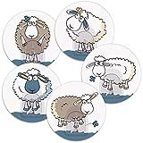 Tatkraft Funny Sheep Conjunto de 5 Ganchos Toalla Adhesivos para Baño y Cocina