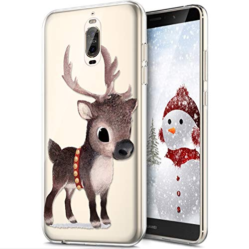 Rann.Bao Coque Huawei Mate 9 Pro,Coque Silicone TPU Transparente Housse Crystal Souple Gel Motif Noël Ultra-Mince de Protection Couverture Etui Coquille Etui pour Huawei Mate 9 Pro,Wapiti #