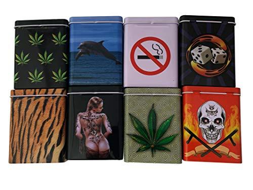 TQM Iloda® 8X Zigarettenboxen aus Metall mit Klappdeckel, Zigarettendosen, Zigarettenetui, Zigarettenschachtel