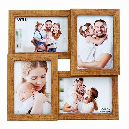 Amazon Brand - Umi - 4 Marcos de Fotos Cuatro Marcos de Madera de imitación de Apertura de 3.5x5(9x13 CM)(Claro) Picture Frame Multi Picture Frame Independiente o montado en la Pared