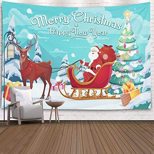 Tapices Deacutecor Sala de Estar Dormitorio para el hogar en casa de Printed for Santa on Sleigh y Polar Deer en Cajas de árbol de Navidad Decoradas con Lazos Vacaciones de Invierno, Rojo Gris