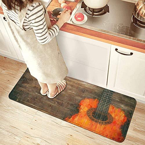 NINEHASA Alfombra de Cocina,Guitarra Estilo Pintura al óleo,Lavable Antideslizante Alfombrilla de Goma Alfombra de Baño Alfombrillas Cocina