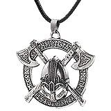AdorabFruit Présent Pendentif Astilla de Oro Colgante Collar de Hombres de Viking Odin Cuervo eslava Amuleto Casco Redondo Color Regalo de la joyería Collares (Metal Color : Silver)