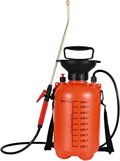 Moutik Garden Sprayer, Pressure Portable Sprayer 1.3 Gal Hand Held Compression Sprayer with Shoulder Strap for Fertilizers Mild Cleaning