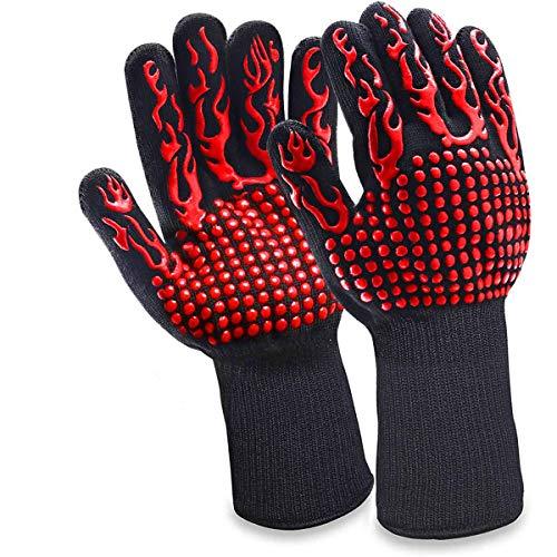 Goovy Grillhandschuhe, Ofenhandschuhe Hitzebeständige BBQ Handschuhe Kochenhandschuhe bis zu 1472°F 800°C Backhandschuhe rutschfeste mit Silikon für Grill/Kochen/Backen/Schweißen (Rot)