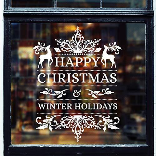 Merry Christmas Window Wall Sticker Dasongff rendier venster foto's muursticker voor deuren, etalages, vitrines, glazen fronten sneeuwvlokken raamdecoratie set 42x43cm wit