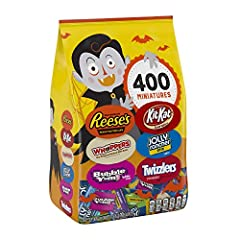 Perfect Halloween candy for trick-or-treaters, lunch bags, and just-because snacks Over 7 pounds of candy so you won't run out this Halloween Assortment includes REESE'S Miniatures, KIT KAT Miniatures, JOLLY RANCHER Stix, TWIZZLERS Strawberry Twists,...