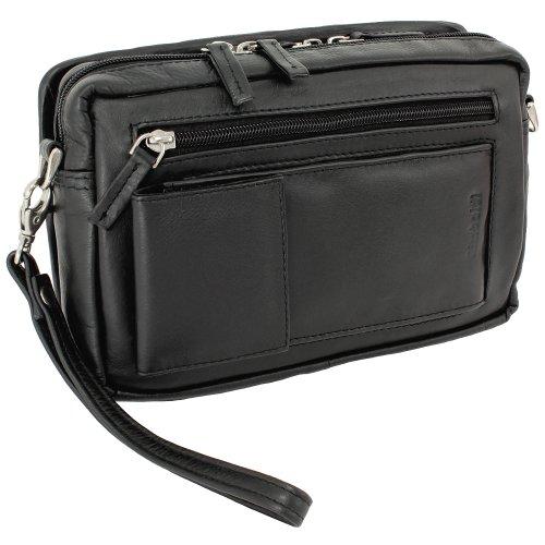 Rimbaldi® Große Business Kombi-Handgelenk-/Schultertasche aus feinem, hochwertigem Nappaleder in Schwarz