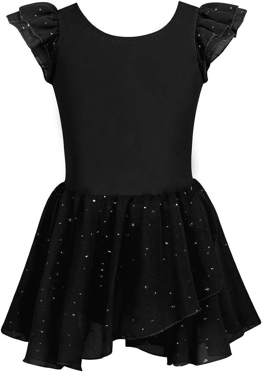 VernLan Toddler Girls Ruffle Flutter Sleeve Gymnastic Leotard Ballet Dance Dress with Sparkly Layered Tutu Skirt
