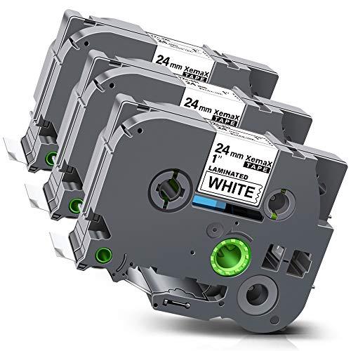 Xemax kompatibel Etikettenband Ersatz für Brother P-Touch Tze-251 TZ-251 Laminiert Kassette Bänder für PT-D600VP PT-2730 PT-P700 PT-P750W PT-E550WVP PT-9700PC, Schwarz auf weiß, 24mm x 8m, 3er-Pack