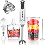 AIFEEL Hand Blender Set with 5 Accessories, Immersion Stick Blender with Milk Frother,500ML Chopper, 600ML Measuring Cup and Egg Whisk, BPA Free, White