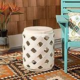 Safavieh ACS4574B Betli Ceramic Decorative Garden Stool, Cream