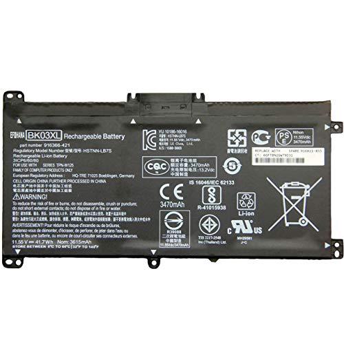 efohana BK03XL Laptop Battery Replacement for Hp Pavilion X360 Converitble PC 14 14m Series 916366-421 916366-541 916811-855 916812-855 HSTNN-LB7S BK03041XL HSTNN-UB7G TPN-W125 11.55V 41.7Wh 3615mAh
