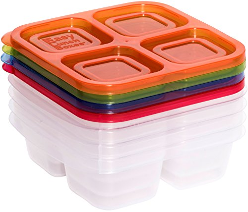 EasyLunchboxes 4-Compartment Snack Box Food Containers, Set of 4, Classic