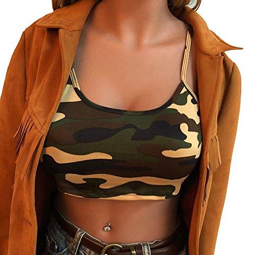 iHENGH Damen Frauen Camouflage Ärmelloses Trägershirt Bustier BH Weste Crop Top Bluse T-Shirt(S,Grün)