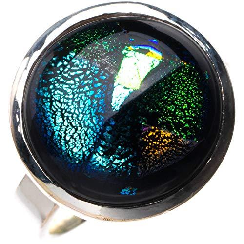 StarGems Anillo de plata de ley 925 hecho a mano con cristal dicroico natural arcoíris N 1/2 E2359