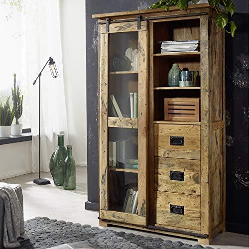 Möbel Akut Vitrine Glasvitrine rustikal Mangoholz massiv Eisen lackiert Gingo