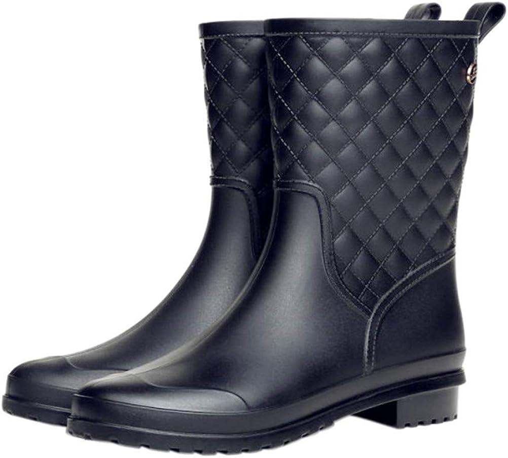FENIKUSU Women's Waterproof Rain Boots Mid-Calf Fashion Grid Rubber Antiskid Garden Kitchen Shoes
