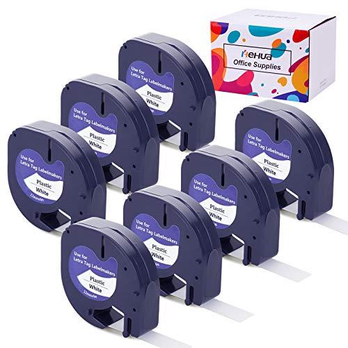Hehua 7 Pack 91201 S0721610 Compatible Dymo Letratag LT91201, 12mm x 4m Negro sobre Blanco Cinta de Etiqueta Plástico para Dymo Etiquetadoras LT-100h LT-100T LT-110T XR XM