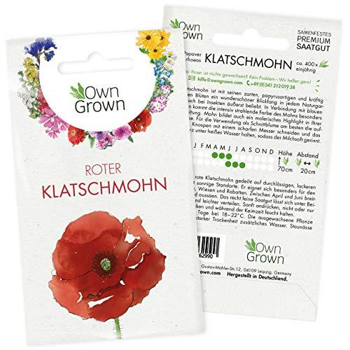 Roter Klatschmohn Samen: Premium Mohnsamen für ca. 400 blühende Mohn Pflanzen – Schöne Mohnblumen Samen kaufen – Blumensamen, Blumenwiese Samen, Own Grown Samen, Wildblumensamen – Saatgut von OwnGrown