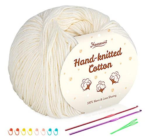 Hilo de algodón beige de 6 unidades, 100% algodón para bebé, supersuave, para ganchillo y punto,...