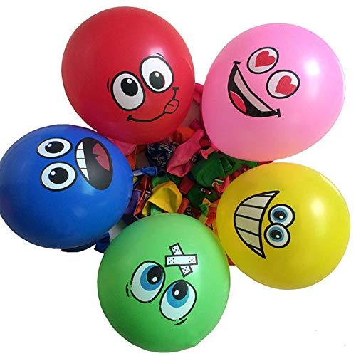 ZLJTT 10PCS Emoji Face Expression Latex Globos de Colores Fiesta de cumpleaños Decoración de la Boda Globos Juguete para niños, 10PCS