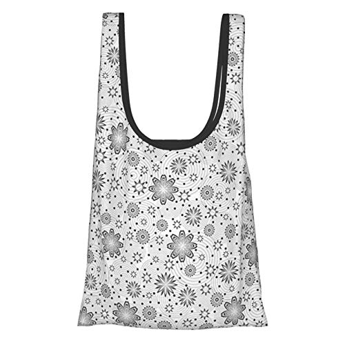 T-shop Grey Decor Mix Florals With Rotary Round Rings And Dot Spots On The Backdrop Simplistic Blossom Cloud Reusable Fold Eco-Friendly Shopping Bags