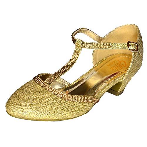 Sandalias de vestir para mujer con tacón bajo, con correa en T y puntera cerrada