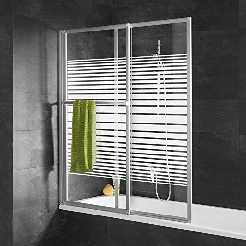 Schulte pare-baignoire extensible 70-118 x 140 cm, paroi de baignoire coulissant, écran de baignoire rabattable 2 volets, décor rayures horizontales, profilé alu nature