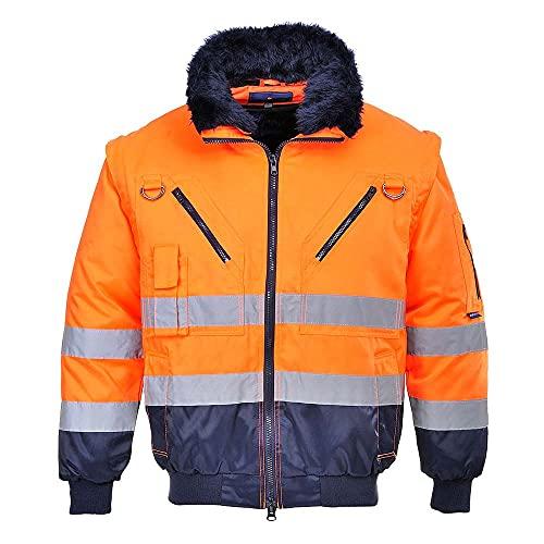 Portwest Hi-Vis 3-in-1 Pilot Jacket, Colour: Orange/Navy, Size: M, PJ50ONRM