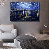 sanzangtang Berühmte Malerhaus mit berühmten Malerei Poster und Wandbilder Leinwand Gemälde Sternenhimmel Frameless auf der Rhone 20x30cm verziert