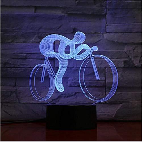 Ideas de Festivo y Regalos para Niños Niñas y Adultos Competencia Nacional de Ciclismo Bicicleta 16 Cambio de Color Lámpara de Noche de Ilusión óptica 3D