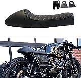 Coussin de siège rétro moto noir siège de course de café selle plate Brat bosse pour CB125S...