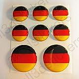 All3DStickers Aufkleber Deutschland Flagge Harz Gewölbt 8 x Aufkleber von Deutschland Fahne Rund 3D Kfz-Aufkleber Gedomt Flaggen