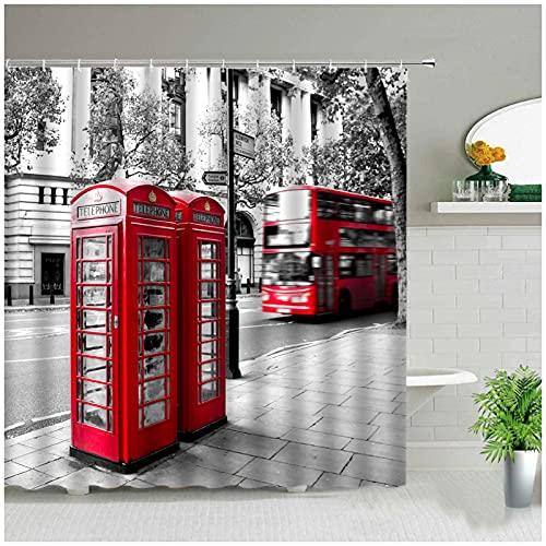 Cabina de teléfono roja clásica de Londres Juego de Cortina de Ducha de baño Retro Cortinas de Tela Arte de Moda Bañera Decoración para el hogar 180 x 180 cm (71 x 71 Pulgadas)
