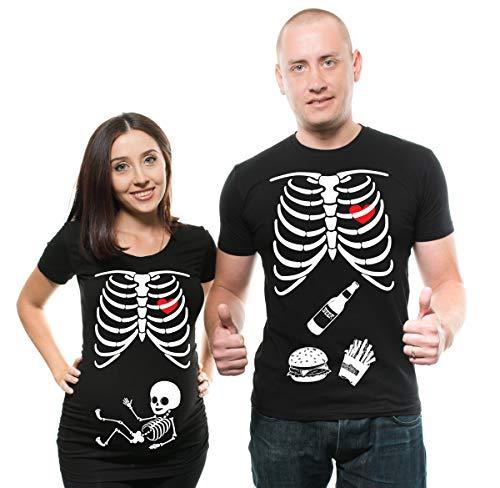 Skeleton Maternity Halloween Couple Matching Shirts Pregnancy Tees X-Ray Skeleton T-Shirt… Men Large - Women Large Black