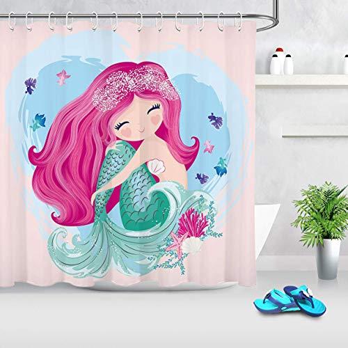 LB Little Mermaid Shower Curtain Mermaid Tail Scales Funny Cute Cartoon Kids Girls Bathroom Curtain Set with Hooks 72x72 inch Fabric Waterproof Polyester Bathroom Decorations