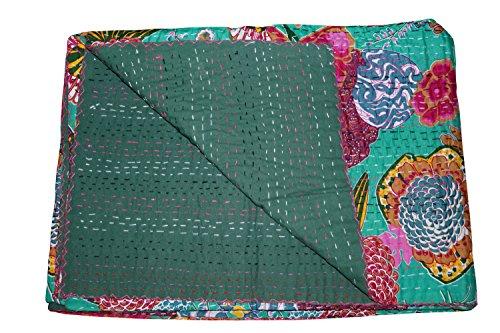 Single indische Baumwolle Fruit Quilt Floral Muster Home Décor Kantha Tagesdecke, Gudari Wandteppich, Floral Print Dekorative Kantha Stich Steppdecke, Hand Kunst Kantha Arbeit 152,4 x 228,6 cm