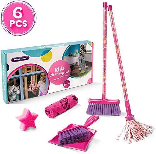 Masthome 2 in 1 Kehrset für Kinder Besen und Schaufel Set Kinder + Staubwedel mit Stiel für Kinder Spielzeug und Haushalt, Pink