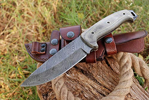 Damascus Bushcraft Knife - Hunting Knife - Handmade Survival Knife, Hand forged Fixed Blade Knife, Camping Knife & Survival Knives, Hunting Knives & Bowie Knives with Micarta Handle & Knife Sheath